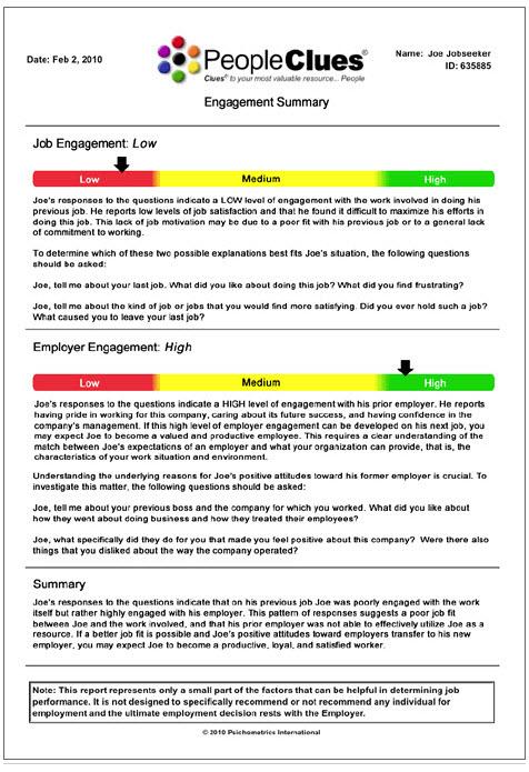 Employee Engagement Pre-Employment Assessment Test